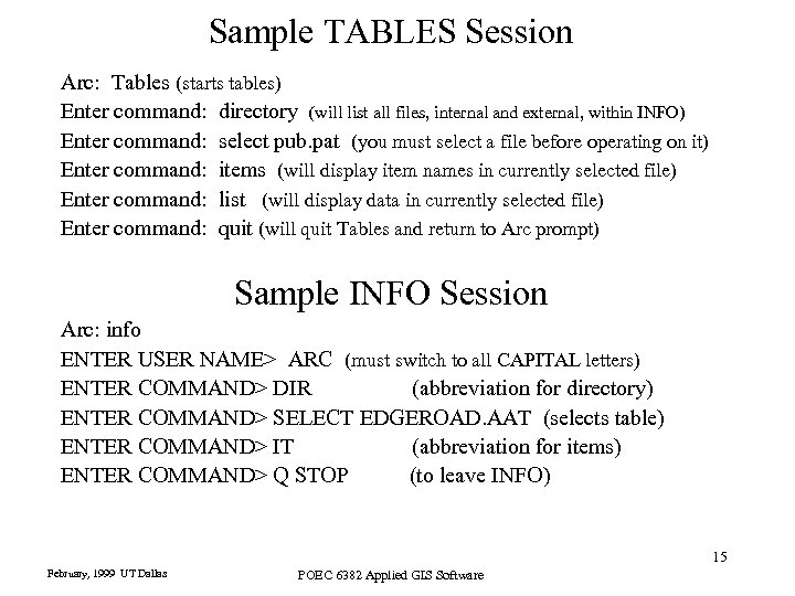 Sample TABLES Session Arc: Tables (starts tables) Enter command: directory (will list all files,