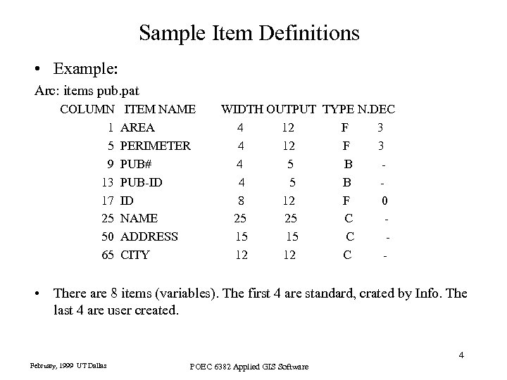 Sample Item Definitions • Example: Arc: items pub. pat COLUMN 1 5 9 13