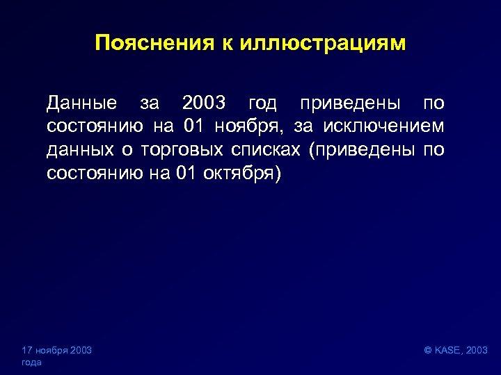 Пояснения к иллюстрациям Данные за 2003 год приведены по состоянию на 01 ноября, за