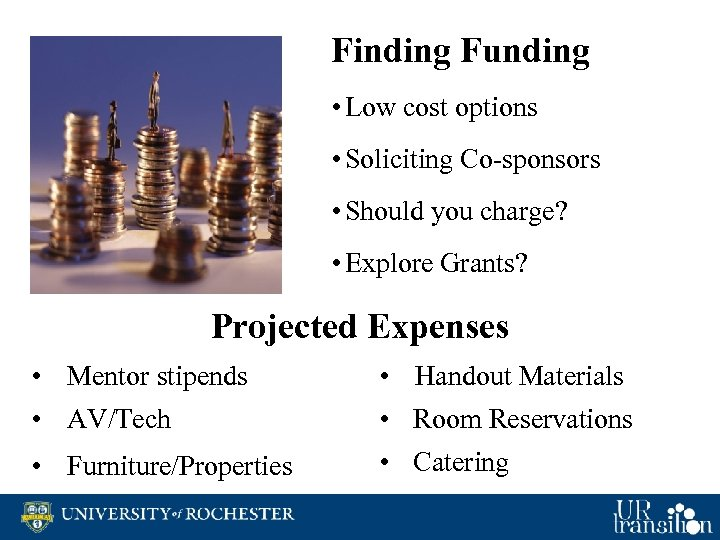 Finding Funding • Low cost options • Soliciting Co-sponsors • Should you charge? •