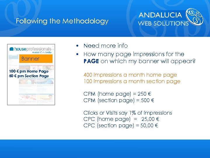 Following the Methodology Banner 100 € pm Home Page 50 € pm Section Page