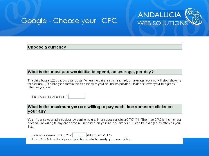 Google - Choose your CPC