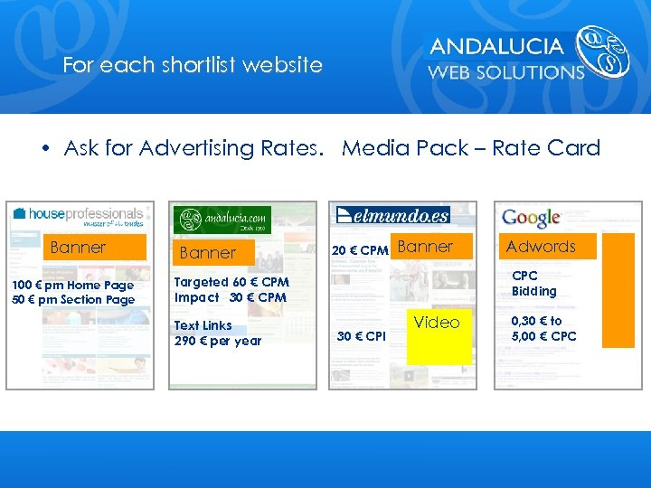 For each shortlist website • Ask for Advertising Rates. Media Pack – Rate Card