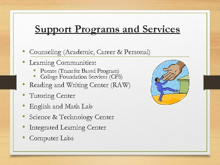 Support Programs and Services • Counseling (Academic, Career & Personal) • Learning Communities: •