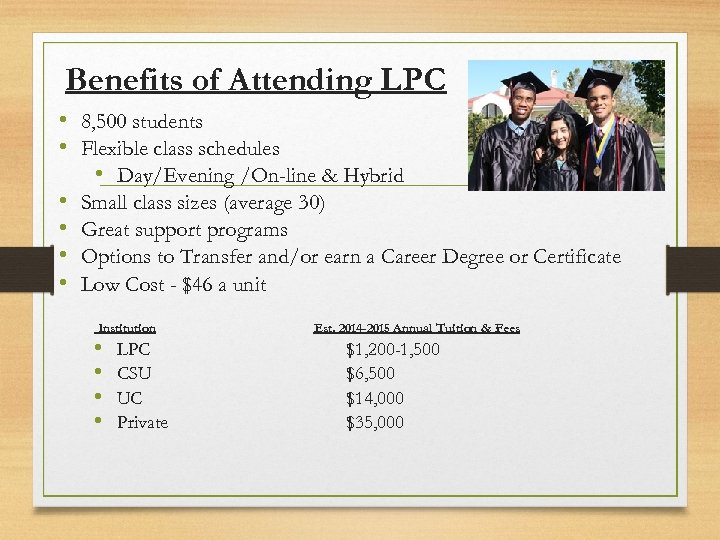 Benefits of Attending LPC • 8, 500 students • Flexible class schedules • Day/Evening