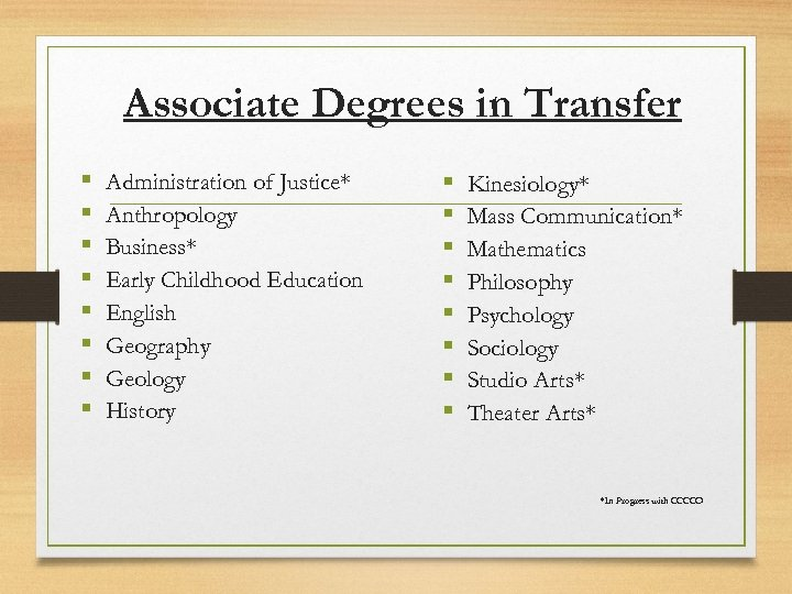 Associate Degrees in Transfer § § § § Administration of Justice* Anthropology Business* Early