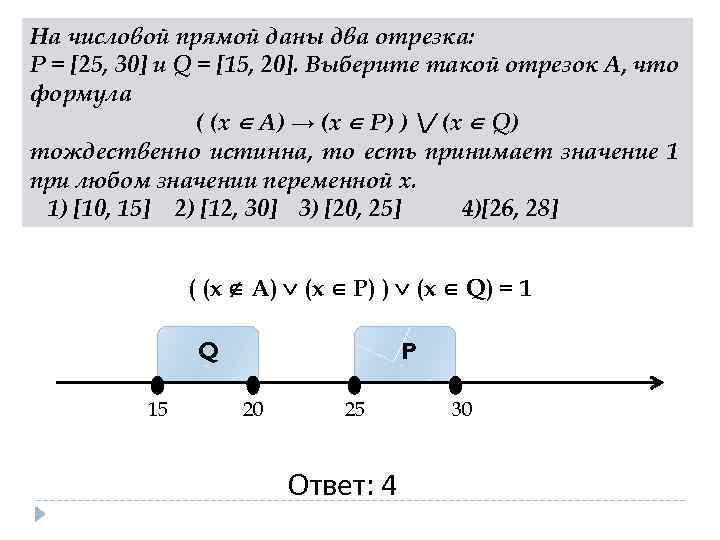 На числовой прямой даны два отрезка: P = [25, 30] и Q = [15,