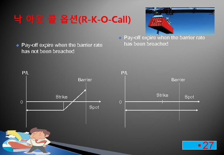 낙 아웃 콜 옵션(R-K-O-Call) u u Pay-off expire when the barrier rate has not