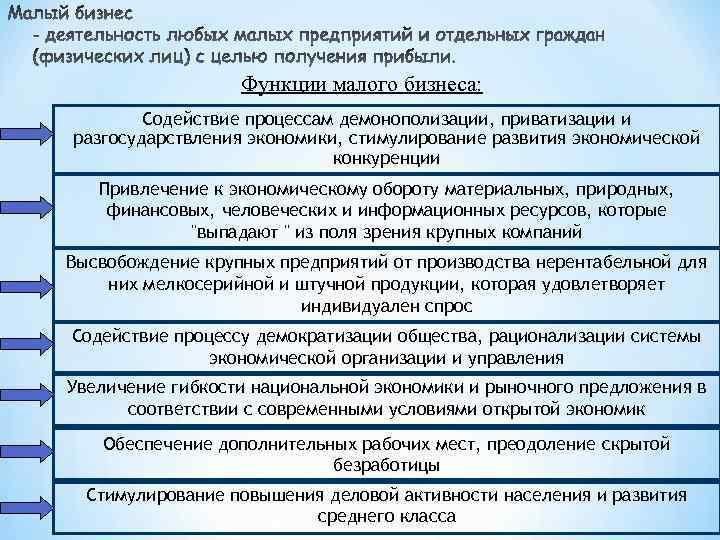 Функции малого бизнеса: Содействие процессам демонополизации, приватизации и разгосударствления экономики, стимулирование развития экономической конкуренции