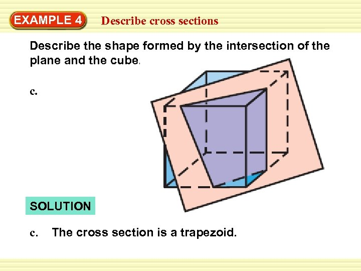 Warm-Up EXAMPLE 4 Exercises cross sections Describe the shape formed by the intersection of