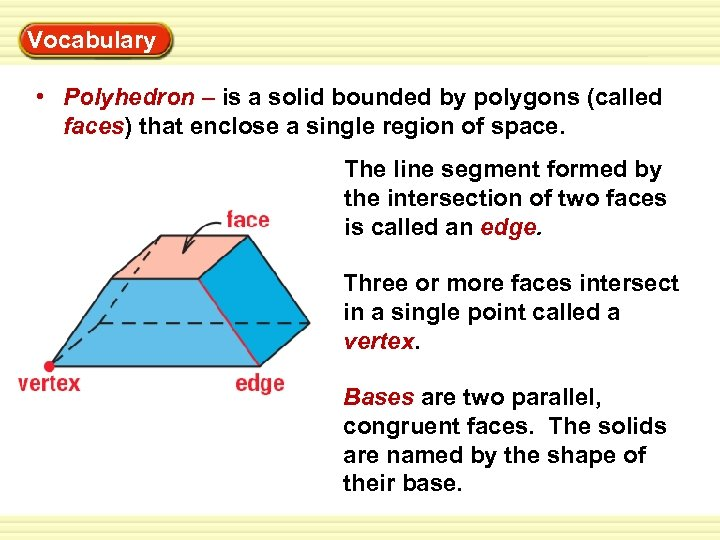 Warm-Up Vocabulary Exercises • Polyhedron – is a solid bounded by polygons (called faces)