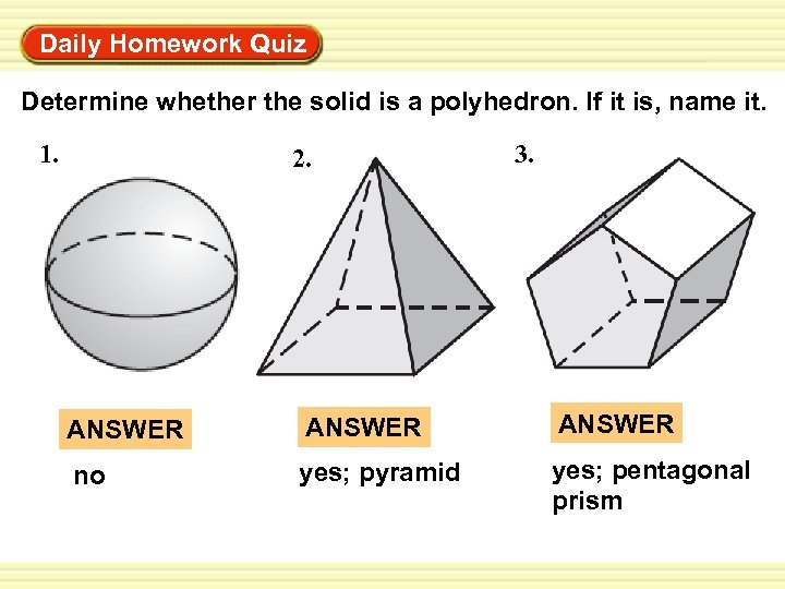 Warm-Up Exercises Daily Homework Quiz Determine whether the solid is a polyhedron. If it