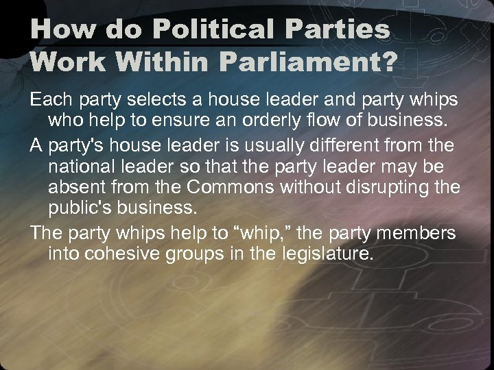 How do Political Parties Work Within Parliament? Each party selects a house leader and