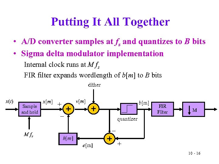 Putting It All Together • A/D converter samples at fs and quantizes to B
