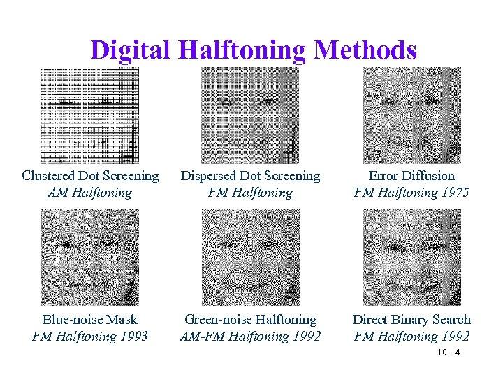 Digital Halftoning Methods Clustered Dot Screening AM Halftoning Dispersed Dot Screening FM Halftoning Error