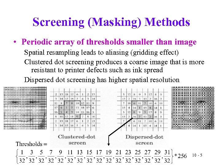 Screening (Masking) Methods • Periodic array of thresholds smaller than image Spatial resampling leads