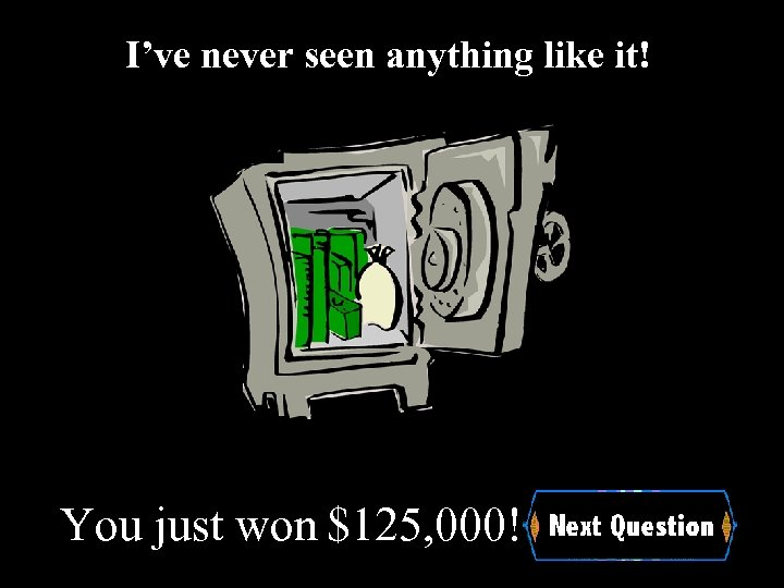 I've never seen anything like it! You just won $125, 000!