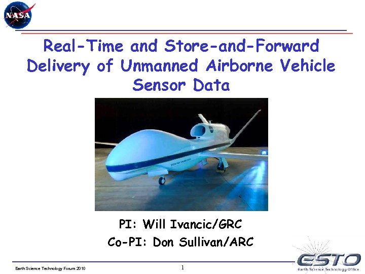 Real-Time and Store-and-Forward Delivery of Unmanned Airborne Vehicle Sensor Data PI: Will Ivancic/GRC Co-PI: