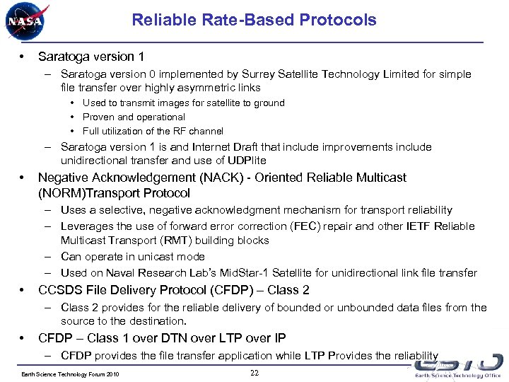 Reliable Rate-Based Protocols • Saratoga version 1 – Saratoga version 0 implemented by Surrey