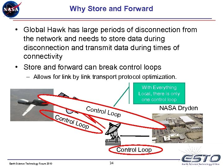 Why Store and Forward • Global Hawk has large periods of disconnection from the