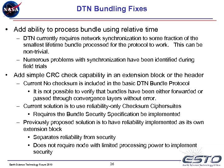 DTN Bundling Fixes • Add ability to process bundle using relative time – DTN