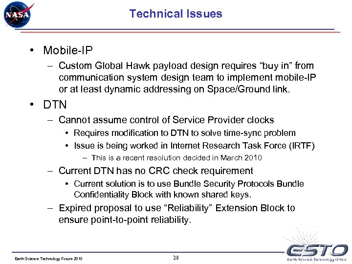 """Technical Issues • Mobile-IP – Custom Global Hawk payload design requires """"buy in"""" from"""