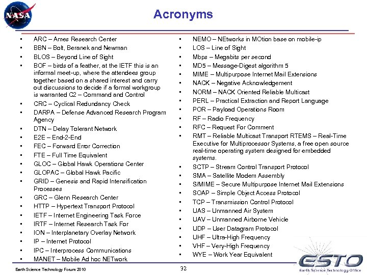 Acronyms • • • • • • ARC – Ames Research Center BBN –