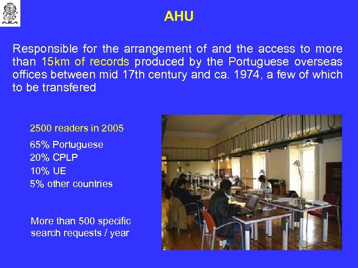 AHU Responsible for the arrangement of and the access to more than 15 km