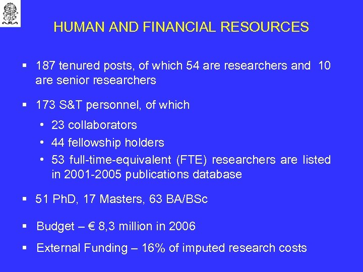 HUMAN AND FINANCIAL RESOURCES § 187 tenured posts, of which 54 are researchers and