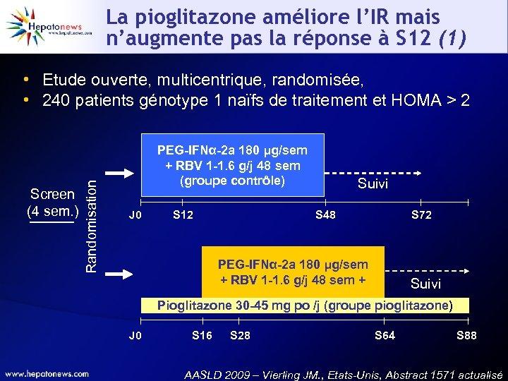 La pioglitazone améliore l'IR mais n'augmente pas la réponse à S 12 (1) Screen
