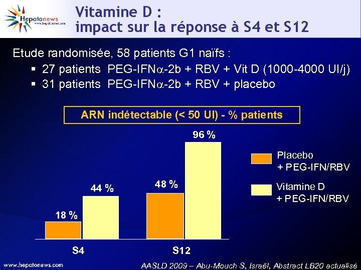 Vitamine D : impact sur la réponse à S 4 et S 12 Etude
