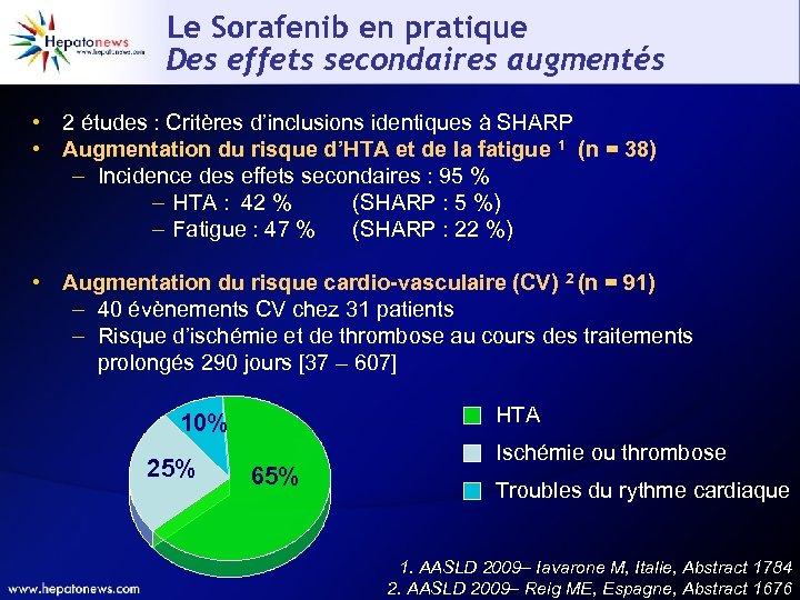 Le Sorafenib en pratique Des effets secondaires augmentés • 2 études : Critères d'inclusions