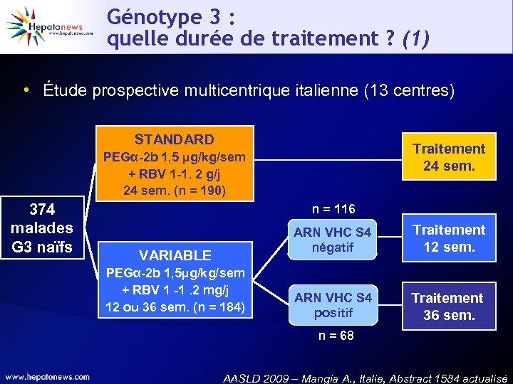 Génotype 3 : quelle durée de traitement ? (1) • Étude prospective multicentrique italienne