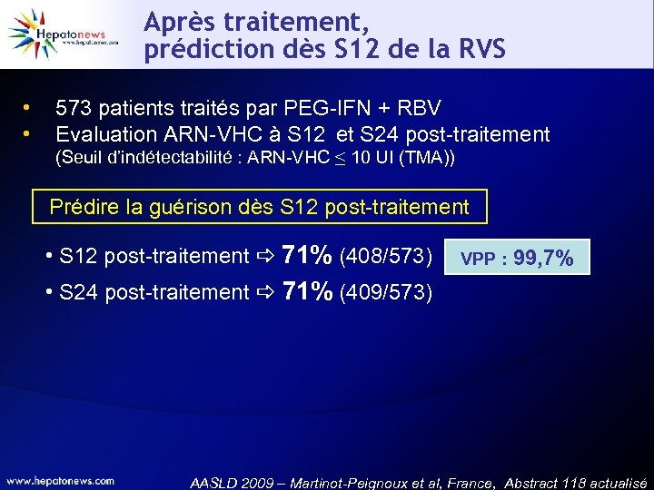 Après traitement, prédiction dès S 12 de la RVS • • 573 patients traités