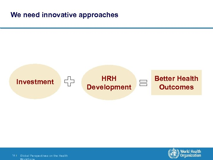 We need innovative approaches Investment 14 | Global Perspectives on the Health HRH Development