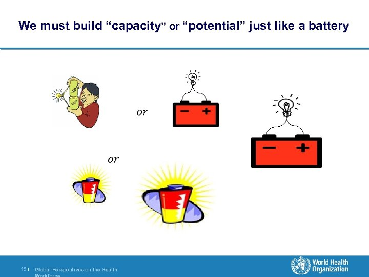 """We must build """"capacity"""" or """"potential"""" just like a battery or or 15 