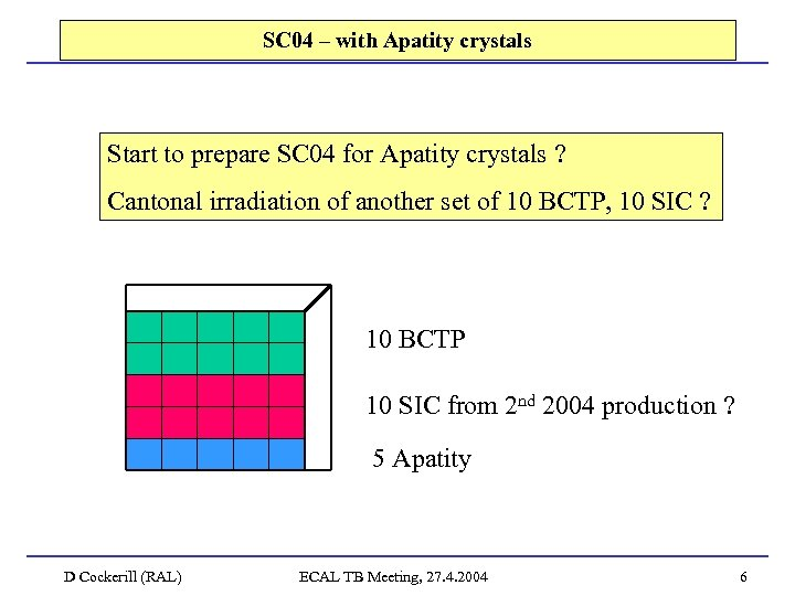 SC 04 – with Apatity crystals Start to prepare SC 04 for Apatity crystals