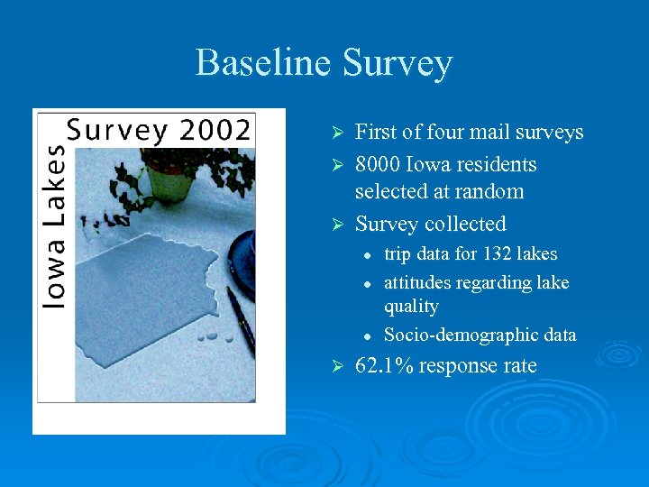 Baseline Survey First of four mail surveys Ø 8000 Iowa residents selected at random