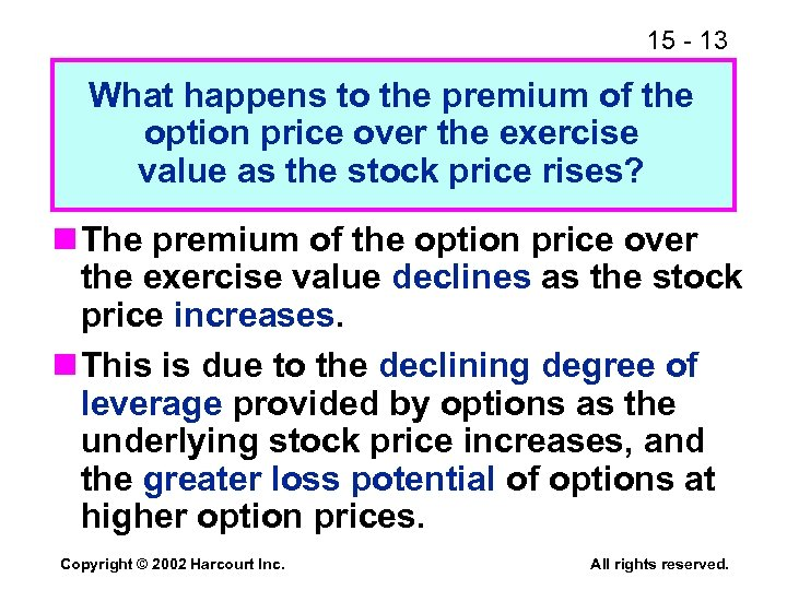 15 - 13 What happens to the premium of the option price over the