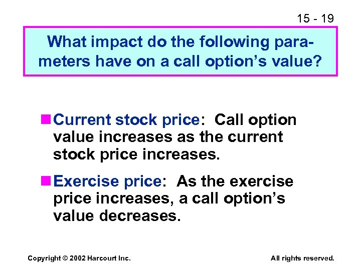 15 - 19 What impact do the following parameters have on a call option's