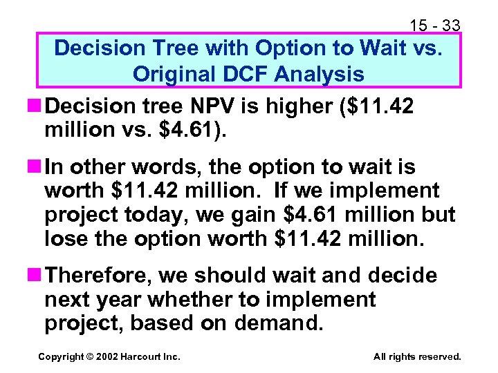 15 - 33 Decision Tree with Option to Wait vs. Original DCF Analysis n