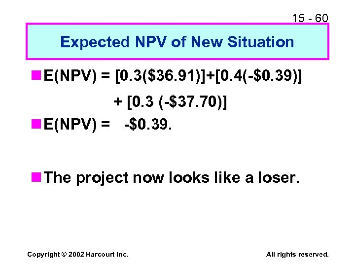 15 - 60 Expected NPV of New Situation n E(NPV) = [0. 3($36. 91)]+[0.
