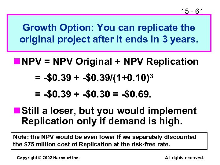 15 - 61 Growth Option: You can replicate the original project after it ends