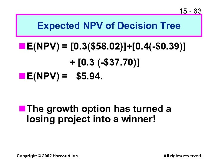 15 - 63 Expected NPV of Decision Tree n E(NPV) = [0. 3($58. 02)]+[0.