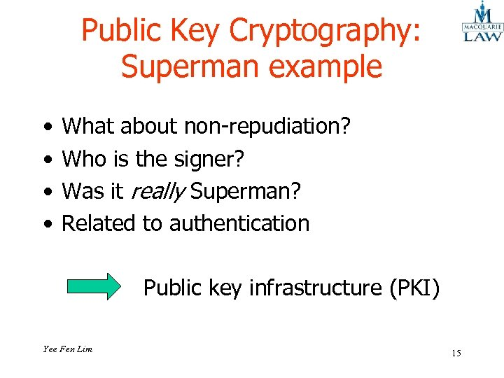 Public Key Cryptography: Superman example • • What about non-repudiation? Who is the signer?