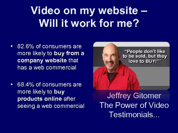 Video on my website – Will it work for me? • 82. 6% of