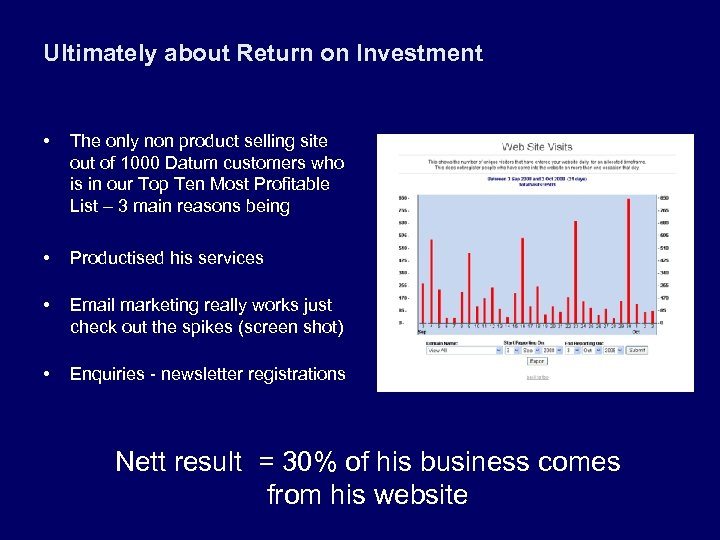 Ultimately about Return on Investment • The only non product selling site out of