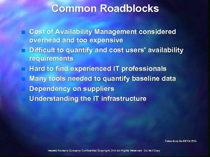 Common Roadblocks n n n Cost of Availability Management considered overhead and too expensive