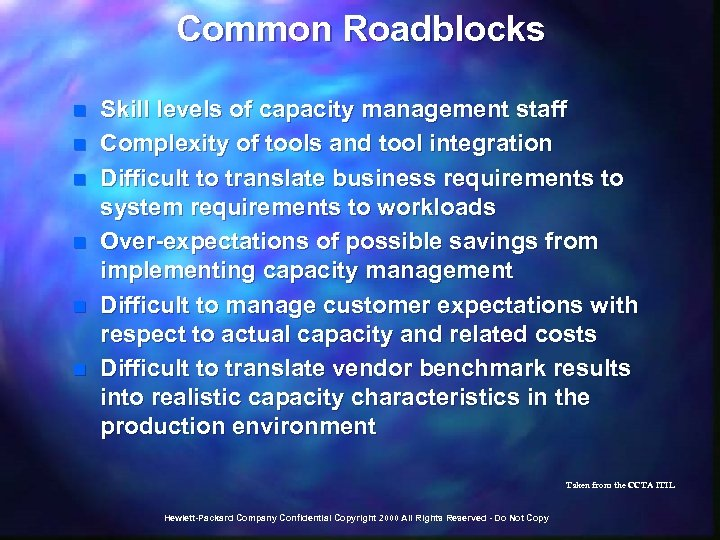 Common Roadblocks n n n Skill levels of capacity management staff Complexity of tools