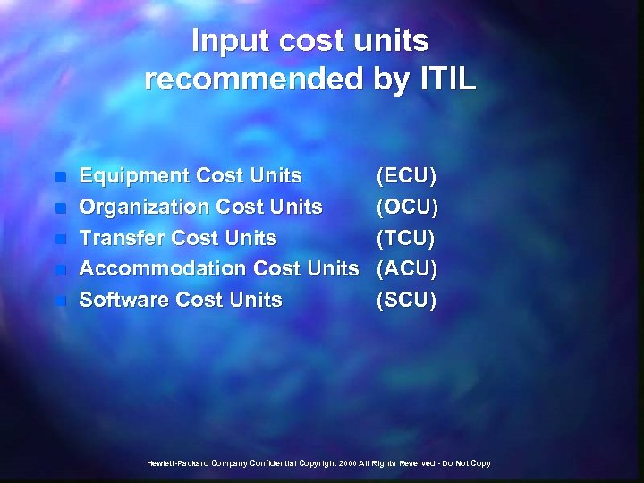 Input cost units recommended by ITIL n n n Equipment Cost Units Organization Cost